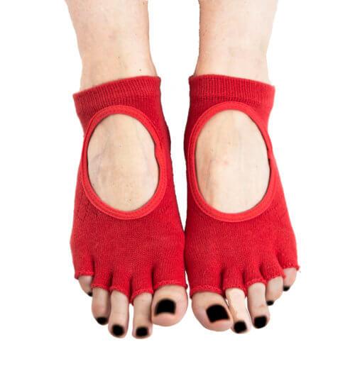 calcetines yoga rojos antideslizantes